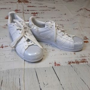 Adidas pearl white superstar tennis shoes